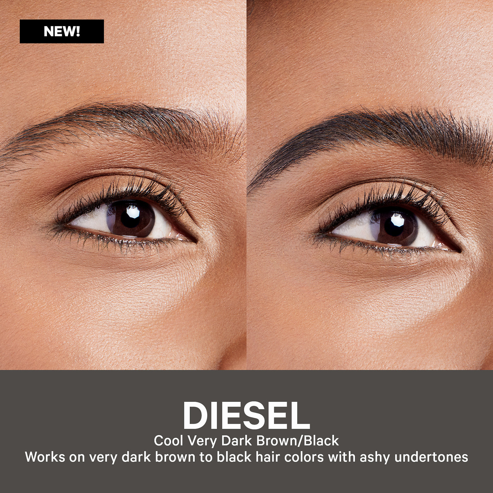 Model showing the before/after of the gel, in shade diesel, which works on very dark brown to black hairs