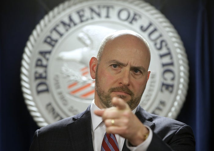 Andrew Lelling, US attorney for the District of Massachusetts, speaks during a news conference in Boston.