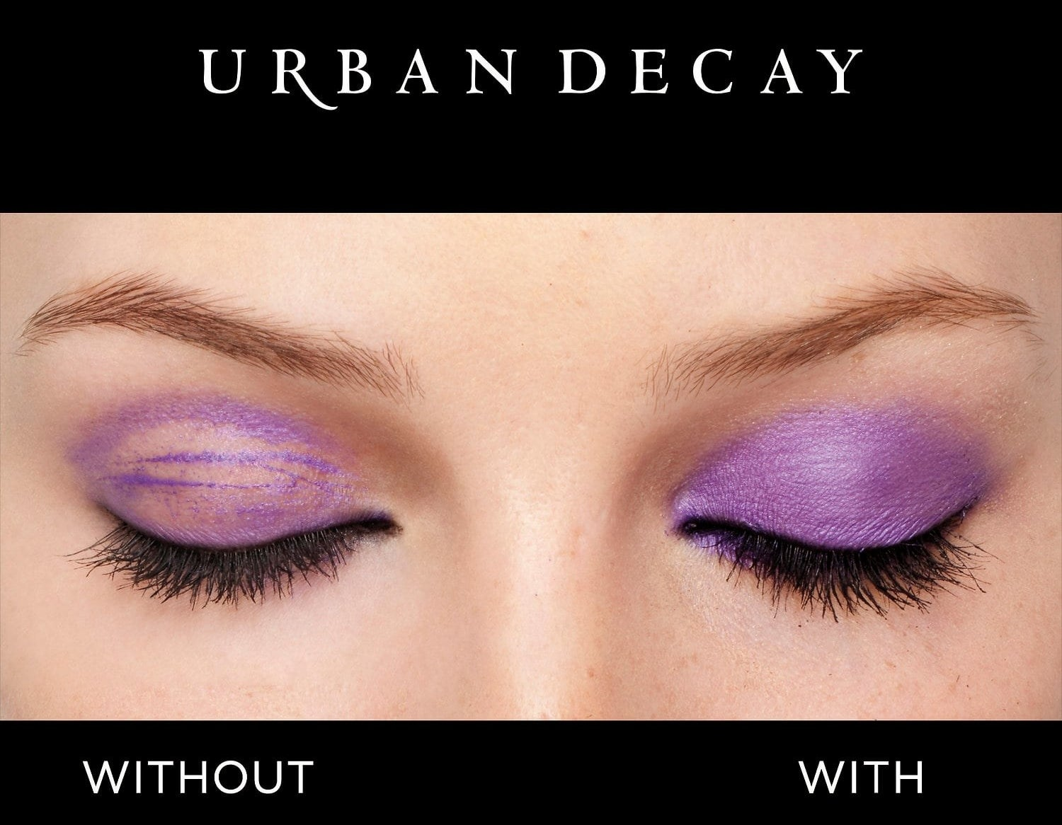 A model with eyeshadow on both eyes, one without the primer (worn away and built up in the crease) and one with (with even, full pigmented coverage)