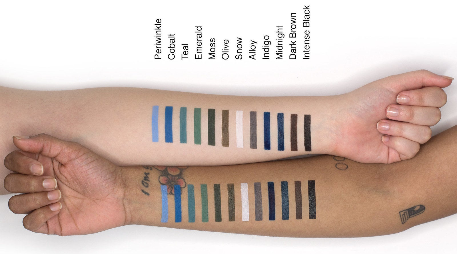Two arms showing swatches of 12 shades, including blues, greens, browns and black