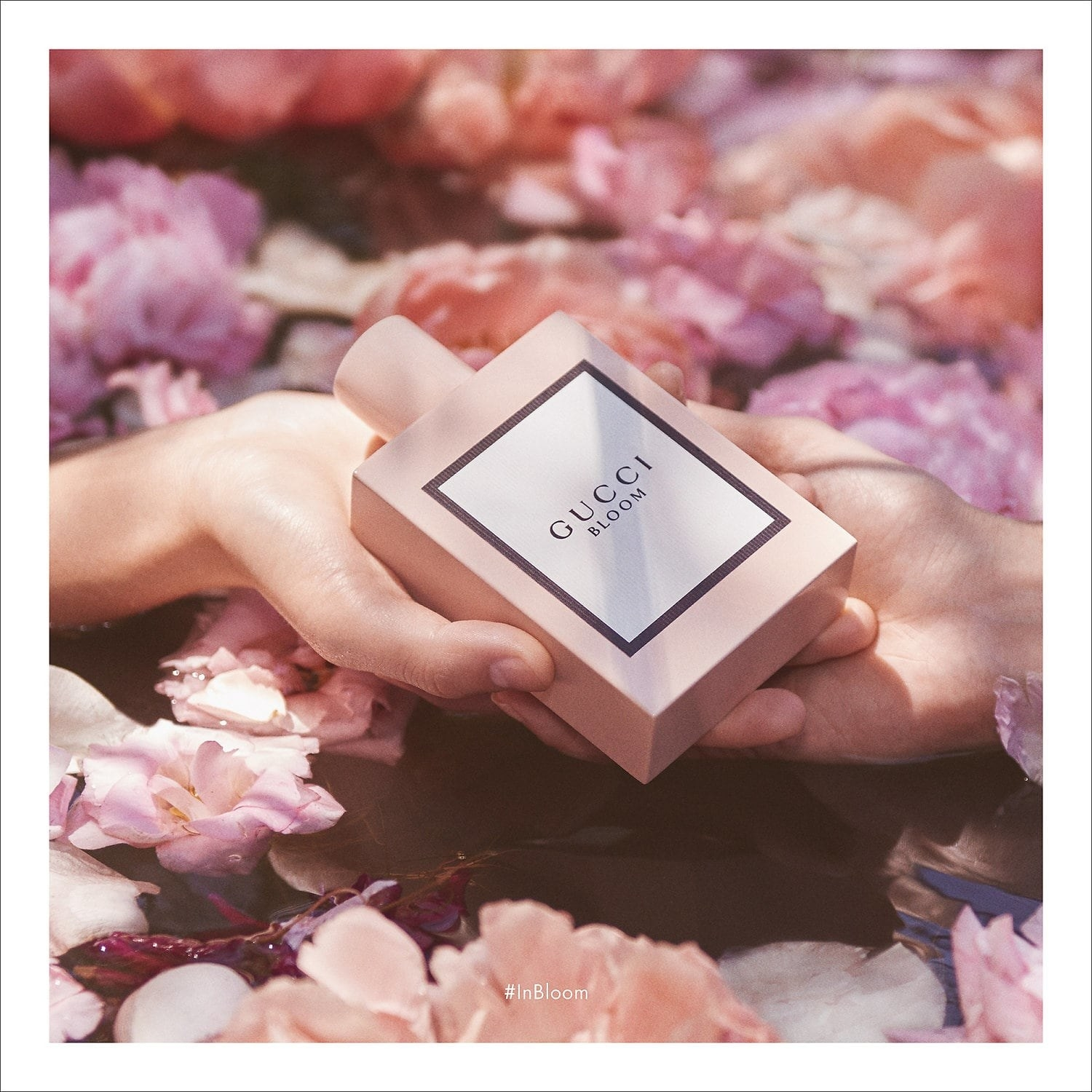 Hands holding the pink square bottle of perfume
