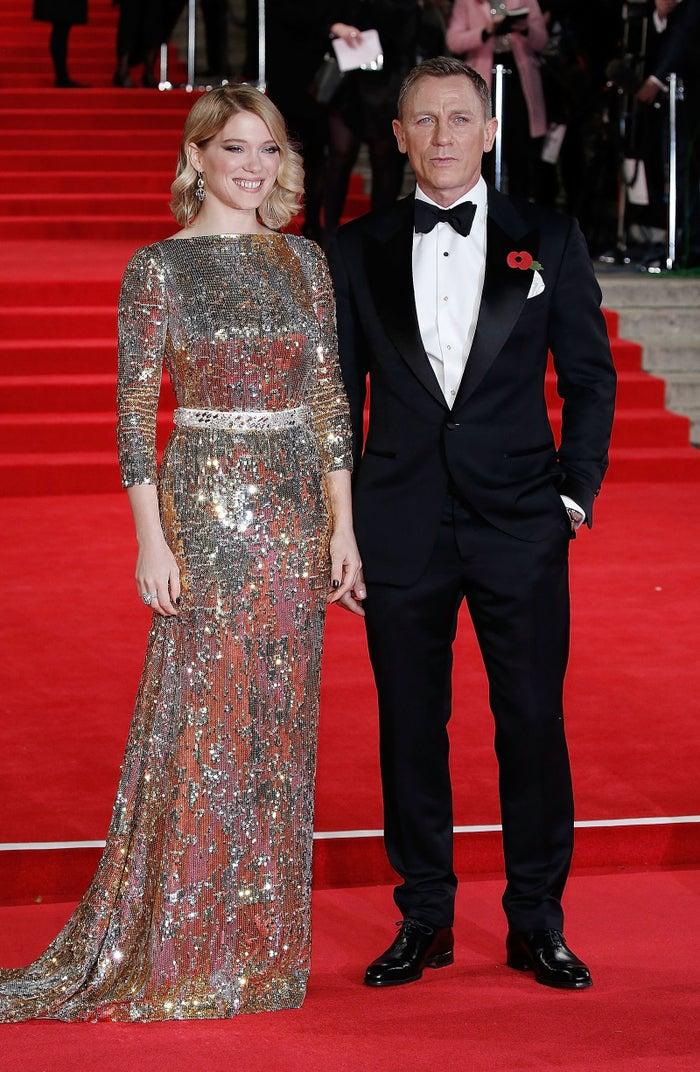 Léa Seydoux and Daniel Craig attend the British premiere of Spectre in 2015.