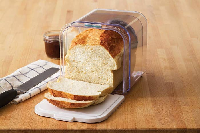 """The bread box is dishwasher-safe and BPA-free, and expands to fit various loaf sizes. It also features air vents you can adjust to keep your bread fresh and closes with magnetic snaps.Promising review:""""I've been baking bread for quite a while now. And until I got this bread keeper, my bread would go stale in about three days, if I left it out. I could extend it to four days, if I put it in a plastic bag. But there would definitely be mold by the fifth day. But with this bread keeper, I've seemed to be able to keep bread fresh for over a week. The crust definitely gets soft. But there is no mold. And after about 10 days, it is only stale around the edges."""" —Casen DavisGet it from Amazon for$19.95."""