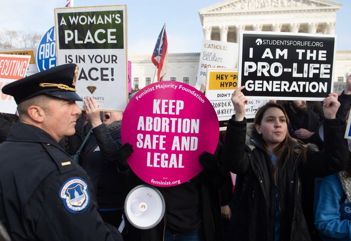 Abortion rights activists outside the US Supreme Court in Washington, DC, in January.