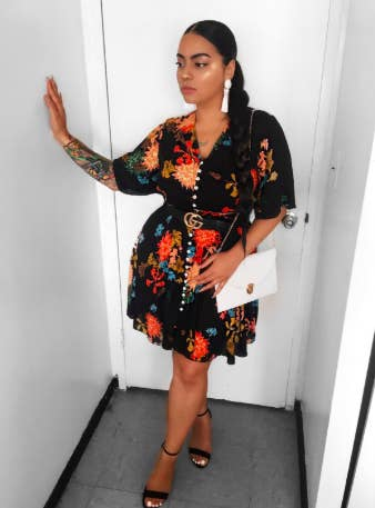 e5a86f0301e A boho button up dress with a floral print that will rival the gardens  sprouting up around your neighborhood. Tulips are shook!