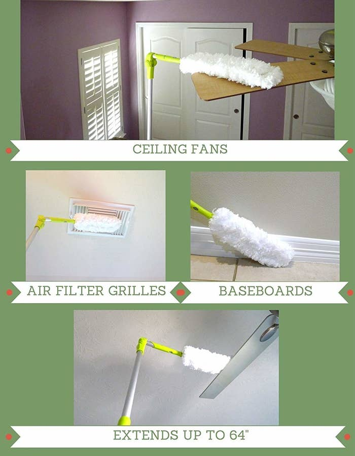 A collage showing the fan cleaning ceiling fans, baseboards, and air filter grills