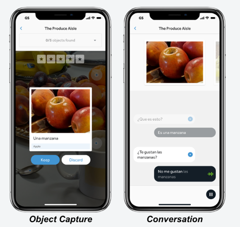 "Example of a phone using the ""Object Capture"" and ""Conversation"" tools to take a photo and converse about apples"