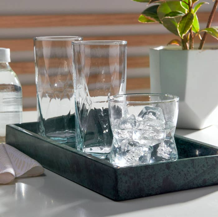 This eight-piece set includes four tall glasses and four double old-fashioned glasses. Price: $25 (for a set of eight)