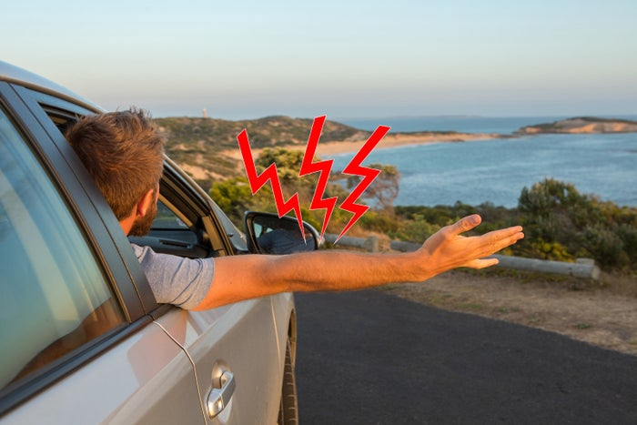 It's easy to forget about the sun when you're in a car, but the roof only blocks out some of those rays. Slap a lil' SPF on and keep the color on both your arms even.