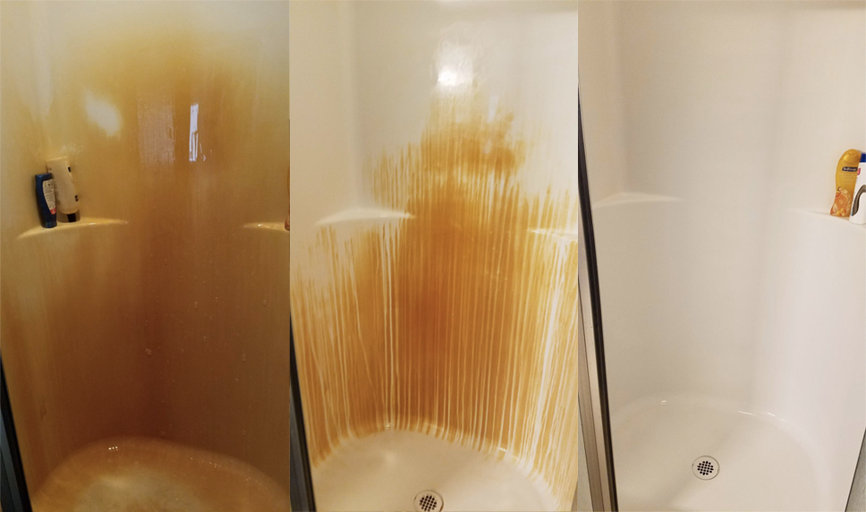left: super orange shower middle: streaks of white from where it was sprayed right: completely white shower