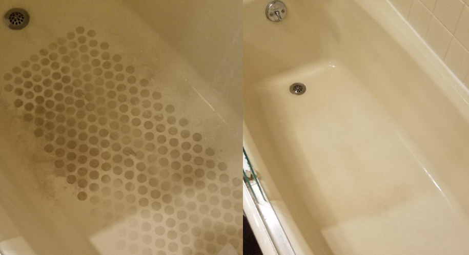 A before photo showing a very dingy, dirt-toned tub, including a bunch of small dots left by a mat. And the after showing the same tub, but with no more visible spots.
