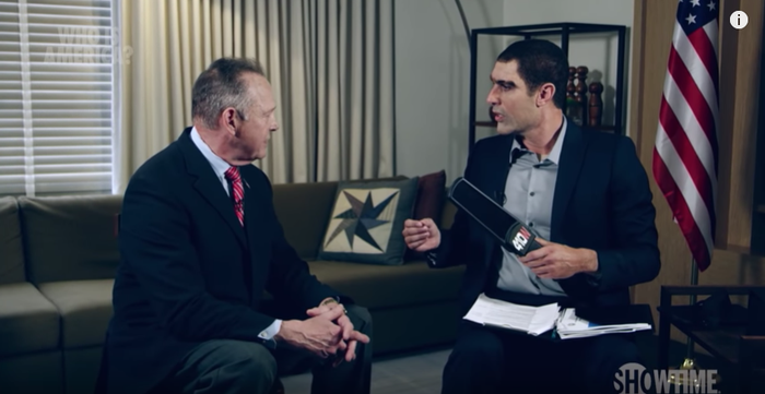Roy Moore, left, with a disguised Sacha Baron Cohen on a July 2018 espisode of Who Is America?