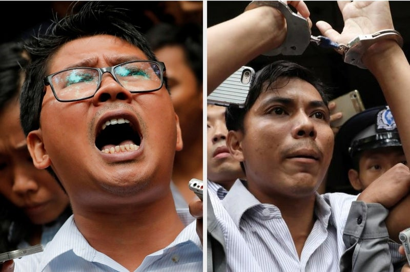 After their investigation into a security-force massacre of Rohingya men and boys in Myanmar's western Rakhine state, Wa Lone and Kyaw Soe Oo were convicted under the colonial-era Official Secrets Act and sentenced to seven years each in prison, even though a police officer testified that they had been entrapped. The Myanmar Supreme Court recently upheld their convictions.
