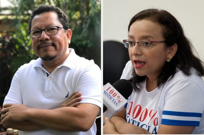 """In December, Nicaraguan police raided TV station 100% Noticias and arrested station director Miguel Mora and news director Lucía Pineda. Both journalists are being held on charges of """"inciting hate and violence"""" and have been denied consistent access to legal services."""