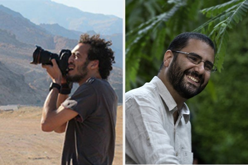 """Photographer Mahmoud Abou Zeid (Shawkan) and Egyptian blogger Alaa Abdelfattah were released this year after spending over five years behind bars. Both, however, must report to a police station each evening, and it is up to the police whether they can leave. So far, both have spent every night of their """"freedom"""" behind bars."""