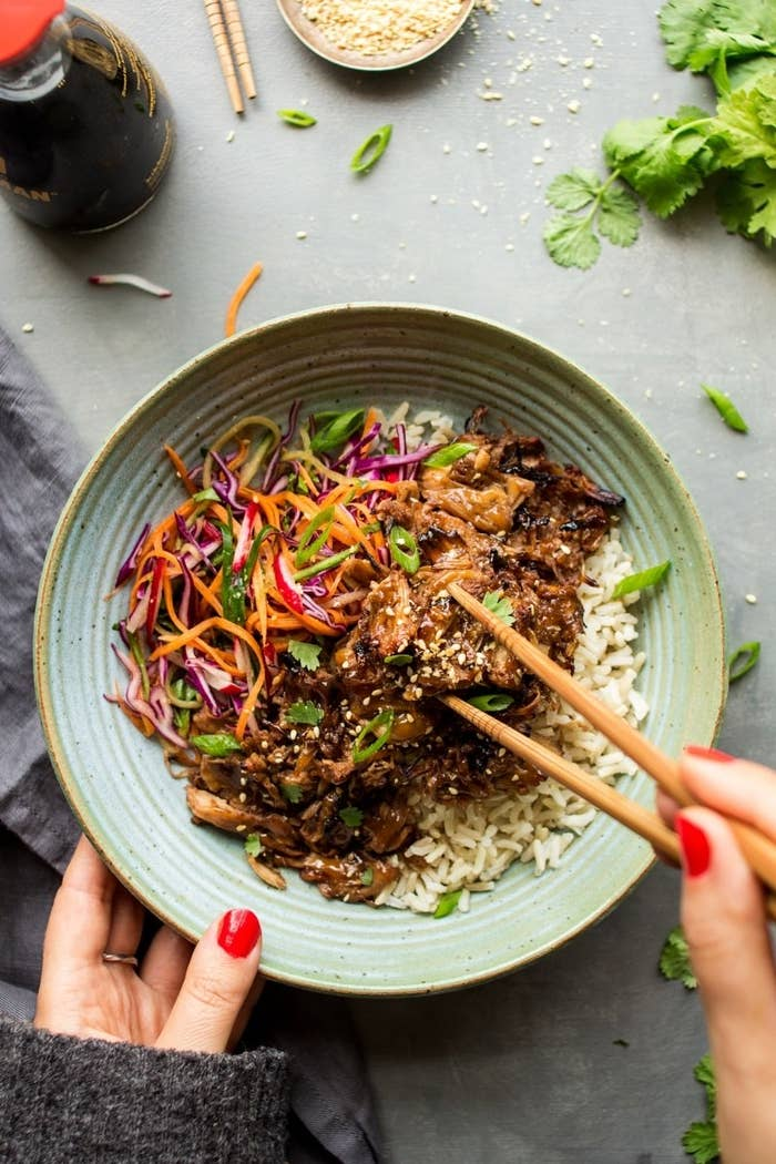 When cooked in ginger, lemongrass, soy sauce, maple syrup, and lots of spices, jackfruit takes on the taste and texture of an Asian-inspired pulled pork. Serve it over rice with a side of the homemade vegetable slaw for a complete dinner. Get the recipe here.