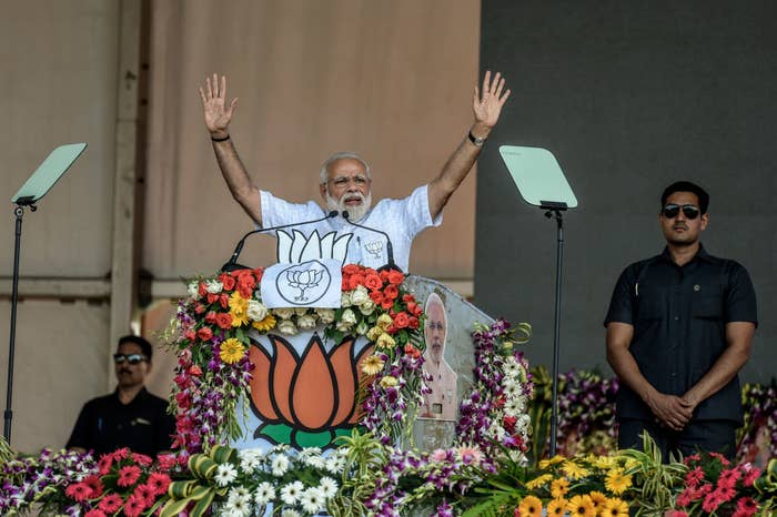 Indian Prime Minister Narendra Modi speaks to the public ahead of India's general election, which begins this month.