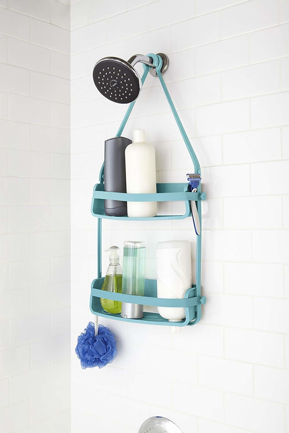 inside shower with teal flexible silicone shower caddy that hangs around the shower head