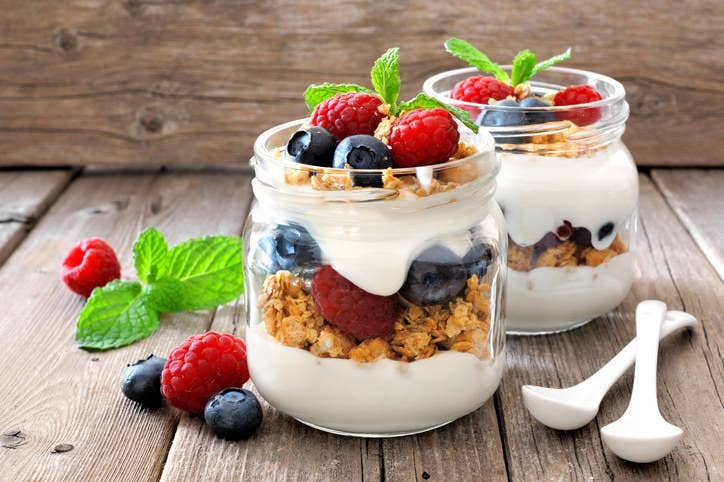 Most foods served at restaurants come with way more sugar and sodium — and are less fresh and nutritious — than things you'd make at home. Parfaits, for one, are made with yogurt and granola way sweeter than the stuff you could make at home.Healthy swap: Make your own parfait at home with Greek yogurt, low-sugar granola, and strawberry slices. Here are a few ideas to get you started.