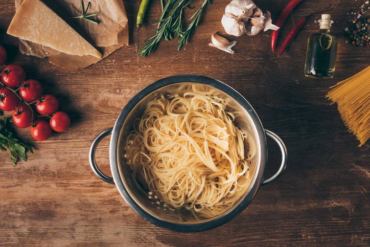 """Rinsing pasta removes the natural starch from the surface of the noodles and the sauce won't stick as well."" —MrsSwan"
