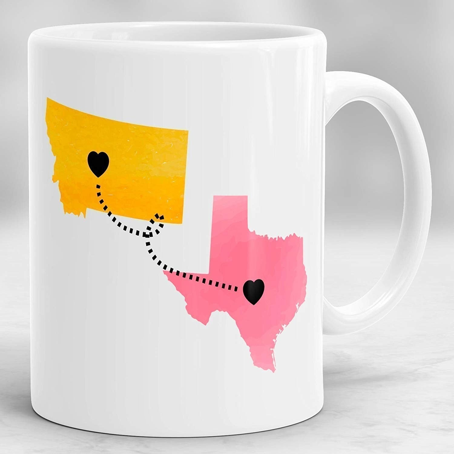 You can customize your states and their colors, as well as choose to add a quote on the back if there is a special one the two of you share! You can also personalize by country! The mug is microwave- and dishwasher-safe!Get it from Amazon for $18.85+ (available in two sizes).