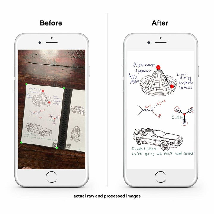 The app turning a physical sketch in the notebook into a digital one via a photo