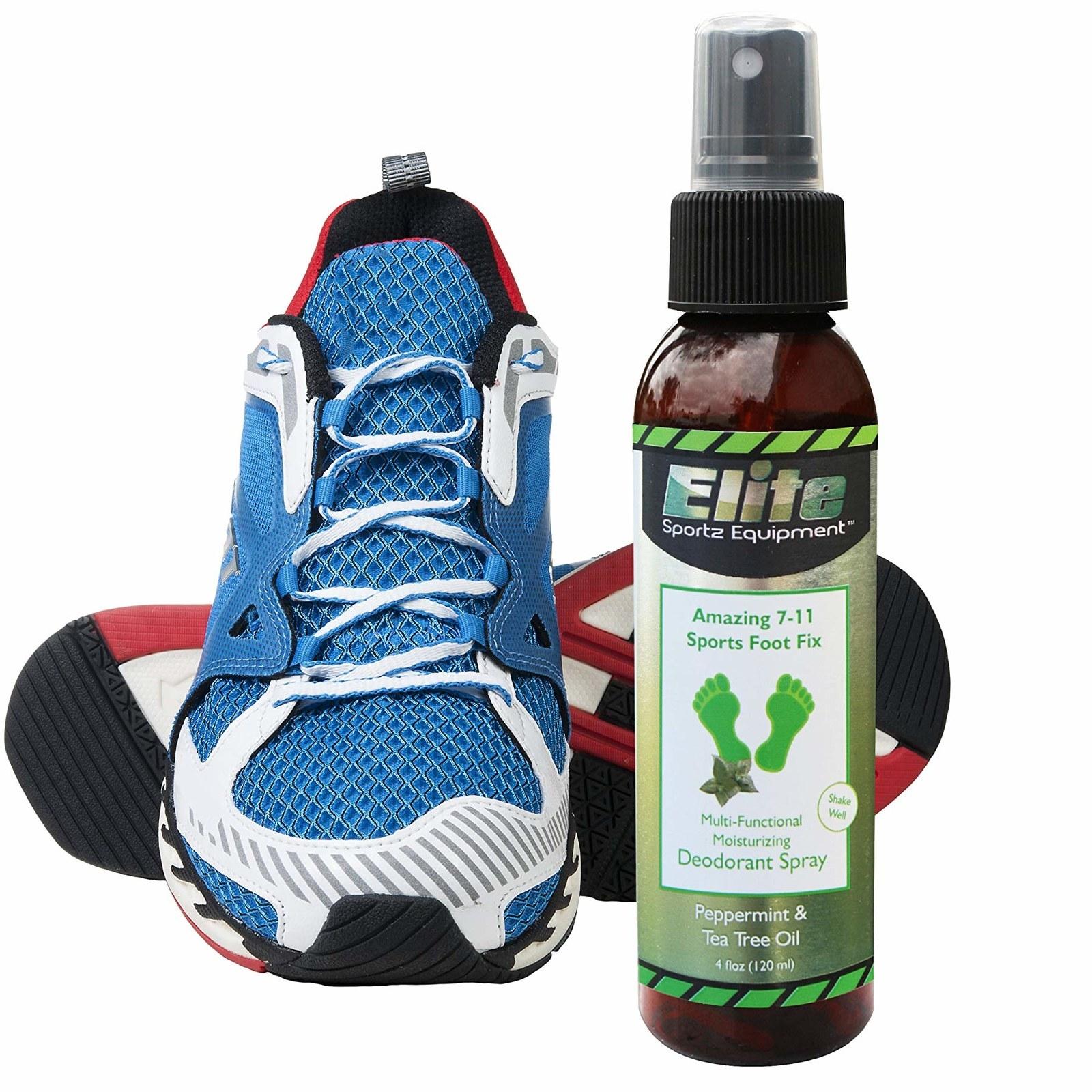 sneaker next to a bottle of Elite sports foot fix