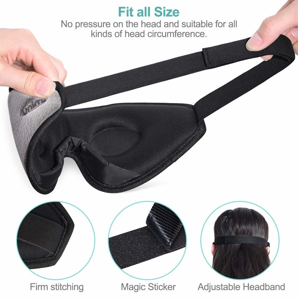 contoured sleep mask with a strap for putting it around your head