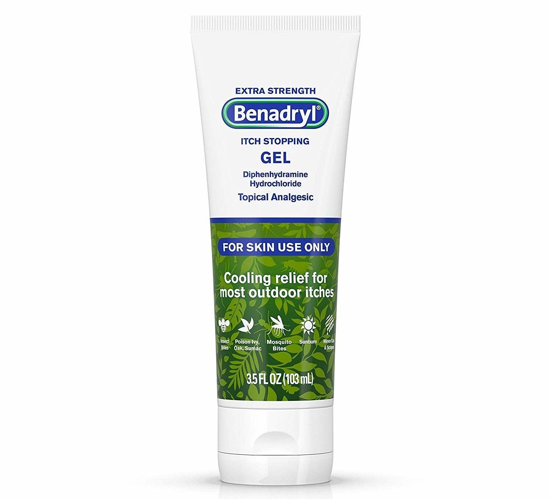 bottle of benadryl itch-stopping gel