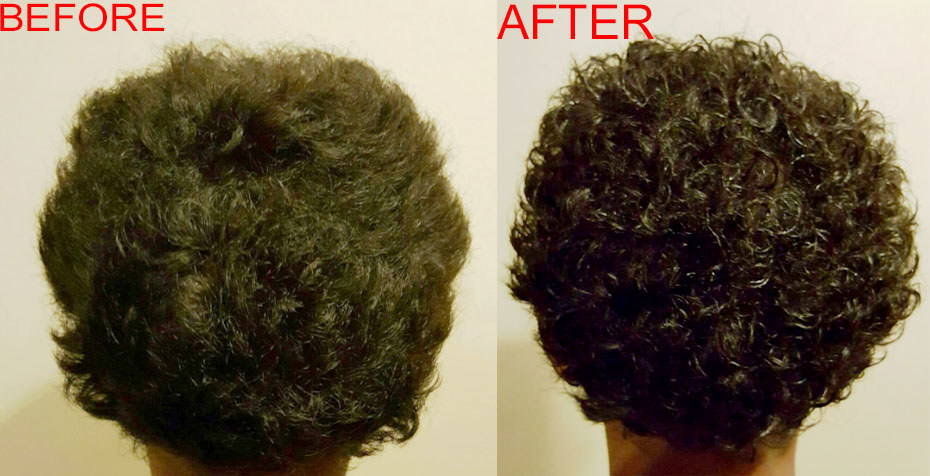 A before and after photo showing more defined curls after using the product