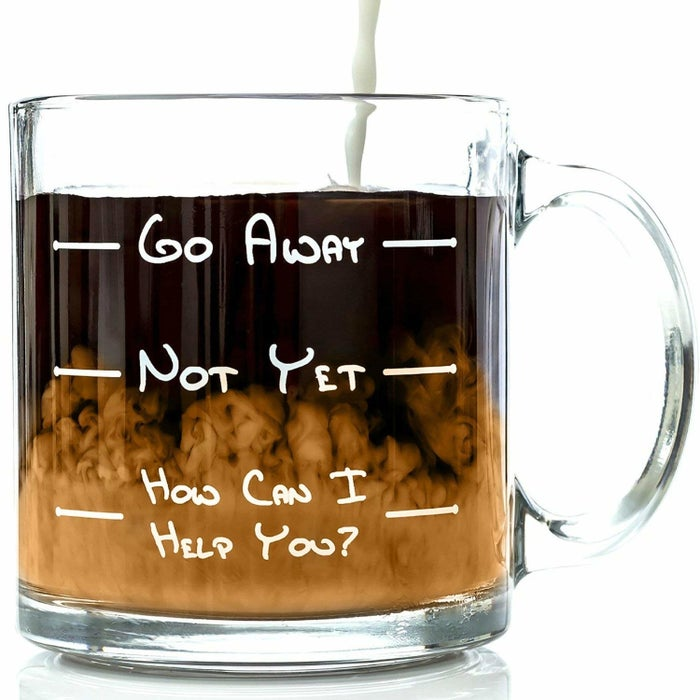 "Promising review: ""Love my new mug! Bought it for the office so I can always have a mug there and have a little bit of humor with my coffees or teas. The glass is thick so I even put it on my mug warmer to have my drinks kept hot at the office while I'm busy or have busy days!"" —CrisGet it from Amazon for $16.87."