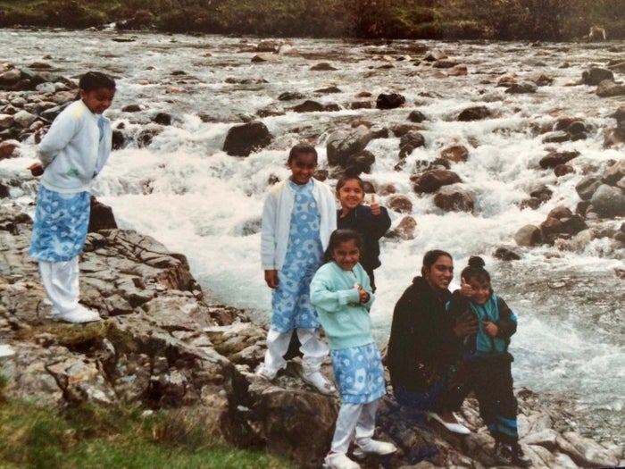Davinder Singh and her children in Fort William in the 1990s.