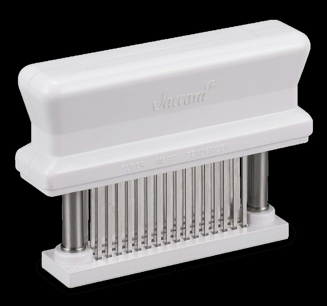 The white tenderizer with base, with rows of needles to puncture the meat