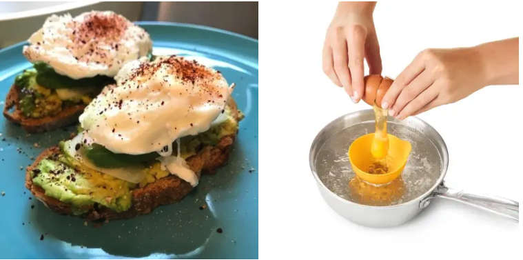A review image of poached eggs / a product shot of an egg being cracked into the poacher