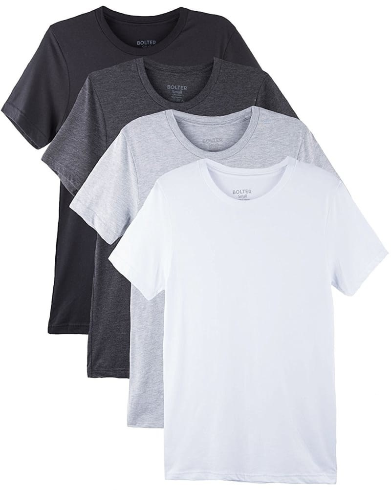 A set of four short-sleeved t-shirts with round neck in white, light grey, dark grey, and black