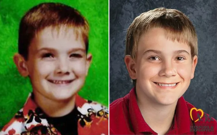 Timmothy at age 6, and in an age-progressed rendering.