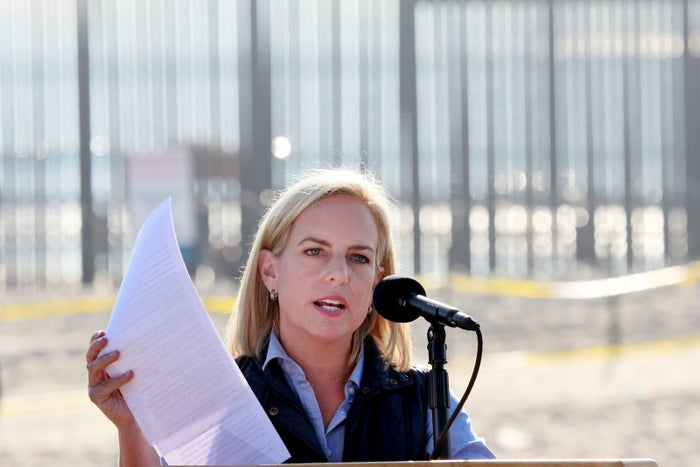 Kirstjen Nielsen, secretary of the Department of Homeland Security, speaks to reporters in San Ysidro, California.