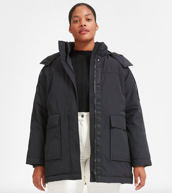 "Promising review: ""This coat arrived just in time for a big storm in Montreal. It was days after days of -35 weather, but I did't care because I had this coat to keep me warm. It's baggy so you have just enough space to put a sweater underneath. The big pockets are super convenient. I'm recommending this 100% if you live in a cold, windy, northern city. Plus, it's made of plastic bottles and recycled polyester!!"" —Montrealer Get it from Everlane for $165 (traditional retail value for $325, available in sizes XXS-XL and in two colors)."