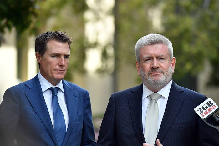 Attorney-general Christian Porter, left, and communications minister Mitch Fifield.