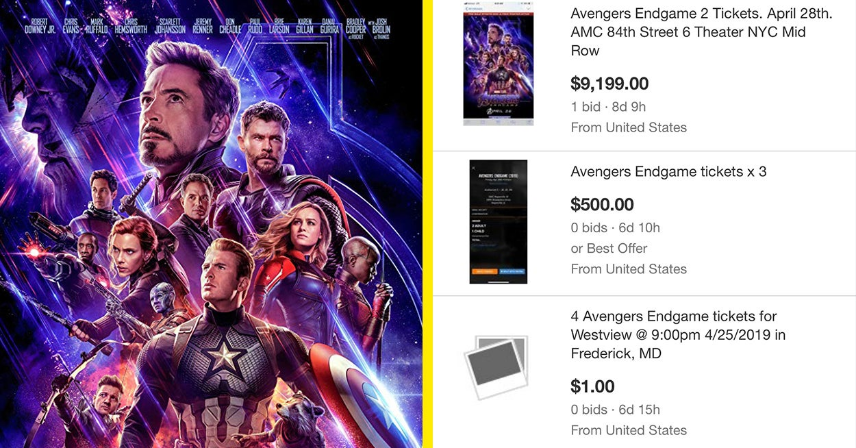 Avengers Endgame Tickets Are Being Sold For More Than 9000 On Ebay