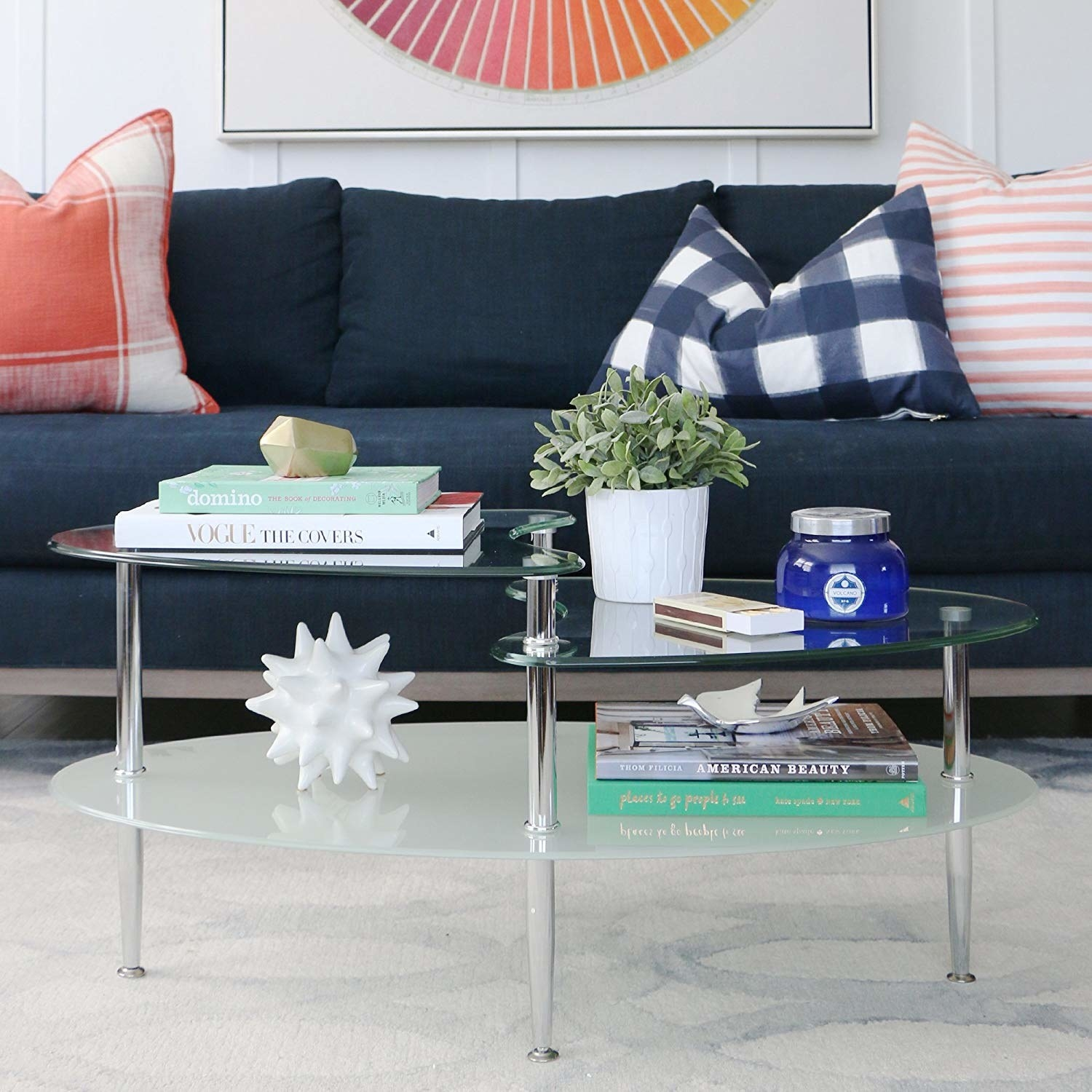 clear glass coffee table with three levels