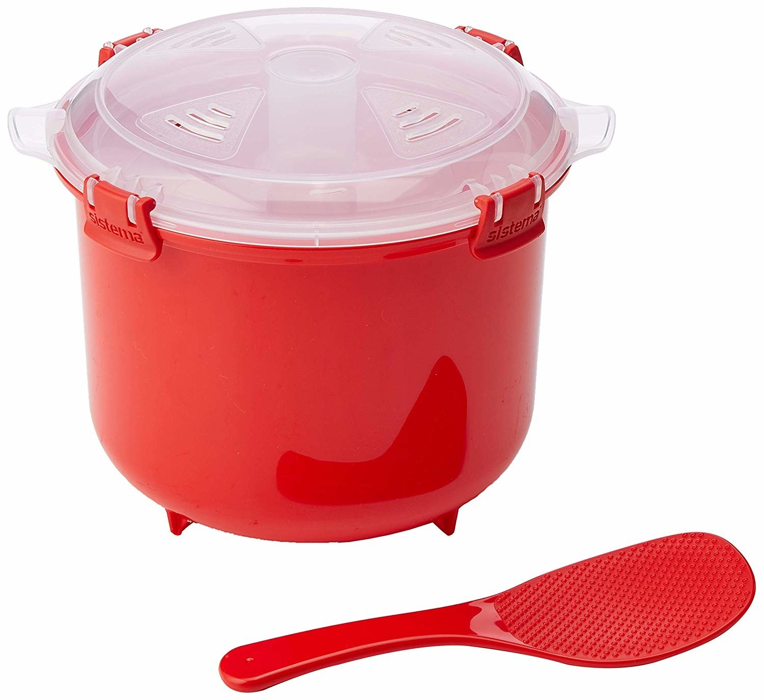 The red rice cooker with paddle