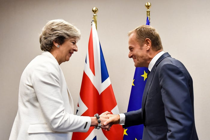 Theresa May and Donald Tusk meeting in Brussels in 2017.