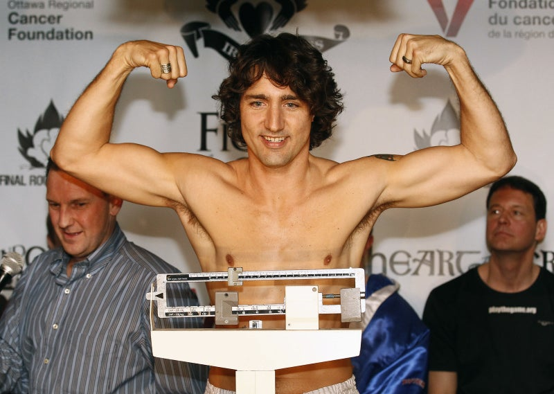 Then–Liberal MP Trudeau at a weigh-in for a charity boxing event in 2012