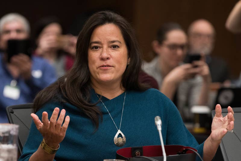 Former Canadian justice minister Jody Wilson-Raybould testifies about the SNC-Lavalin affair before a justice committee hearing on Parliament Hill in Ottawa.