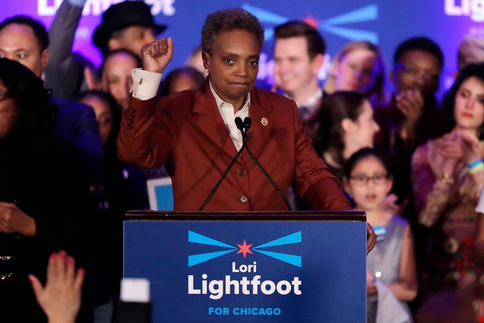 Lori Lightfoot speaks at her election night party in Chicago on April 2. Lori Lightfoot was elected Chicago mayor, making her the first black woman to lead the city.
