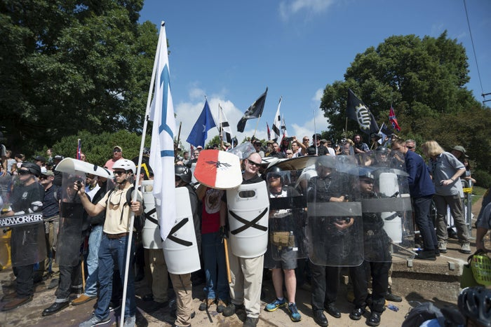 """Neo-Nazis, white supremacists, and other alt-right factions scuffled with counterprotesters ahead of the """"Unite the Right"""" rally in Charlottesville in 2017."""