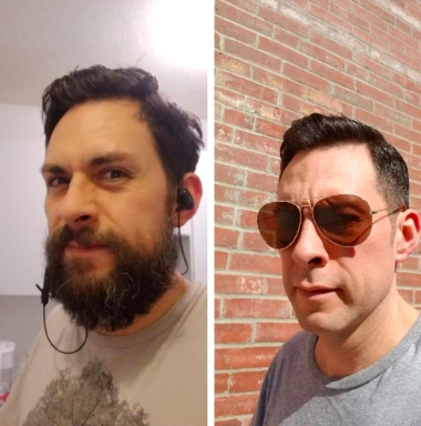A before photo of a reviewer with a full beard and mustache and an after photo with a cleanly shaven face looking smooth