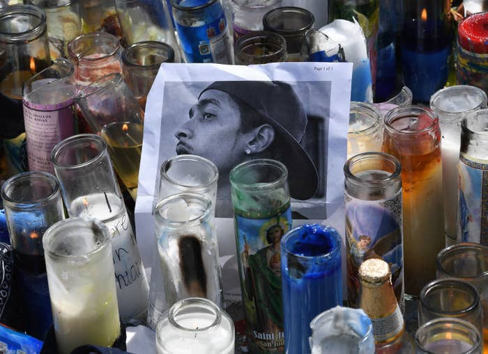 A makeshift memorial outside The Marathon clothing store in Los Angeles owned by Grammy-nominated rapper Nipsey Hussle, where he was fatally shot and two others were wounded on April 1, 2019.