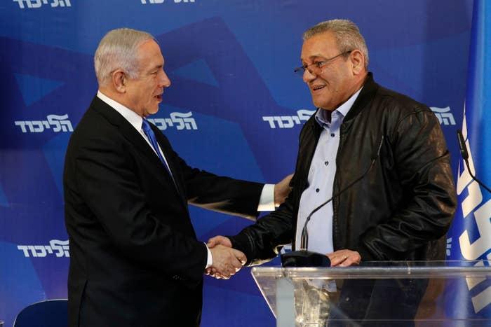 "Giora Ezra, aka ""Captain George,"" and Israeli Prime Minister Benjamin Netanyahu"